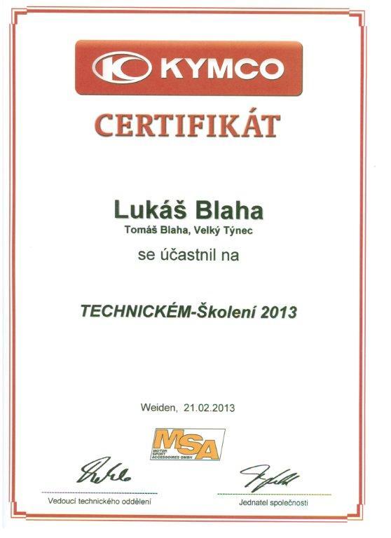 Certifikát z technického školení Kymco 2013 Lukáš Blaha