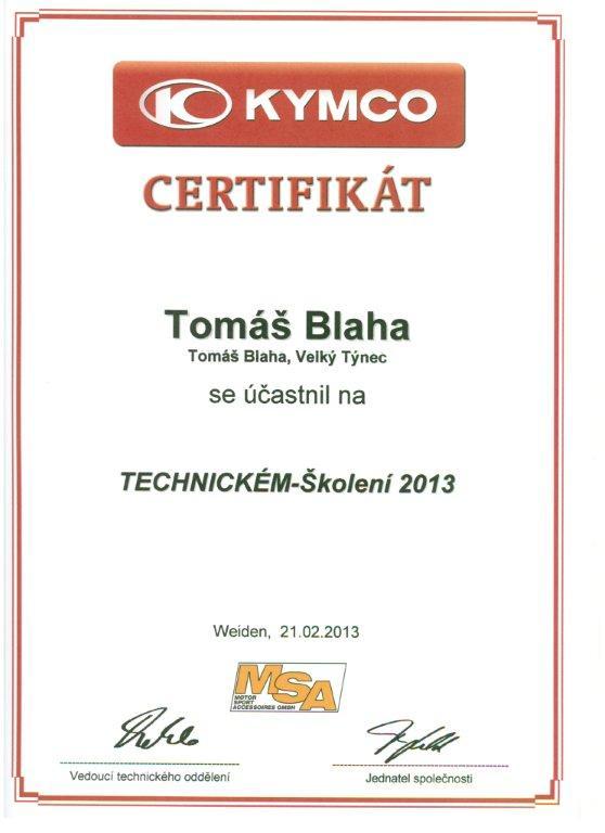 Certifikát z technického školení Kymco 2013 Tomáš Blaha
