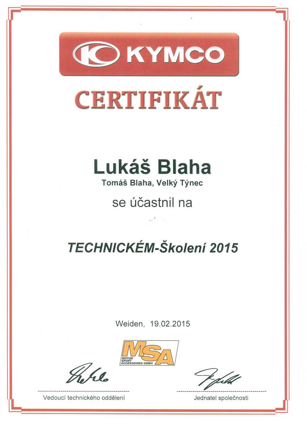 Certifikát z technického školení Kymco 2015 Lukáš Blaha