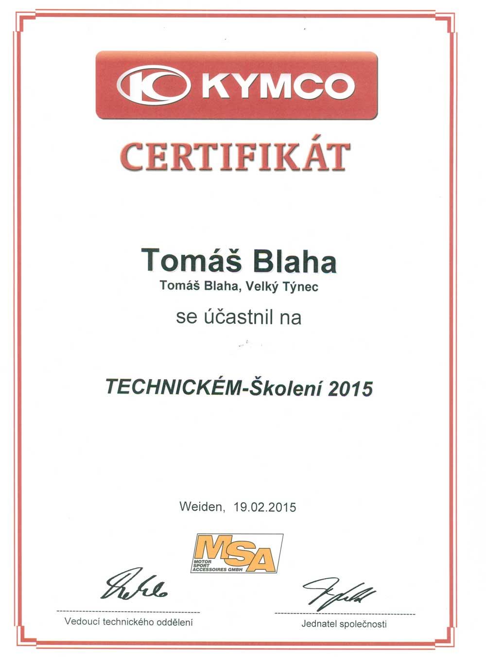 Certifikát z technického školení Kymco 2015 Tomáš Blaha